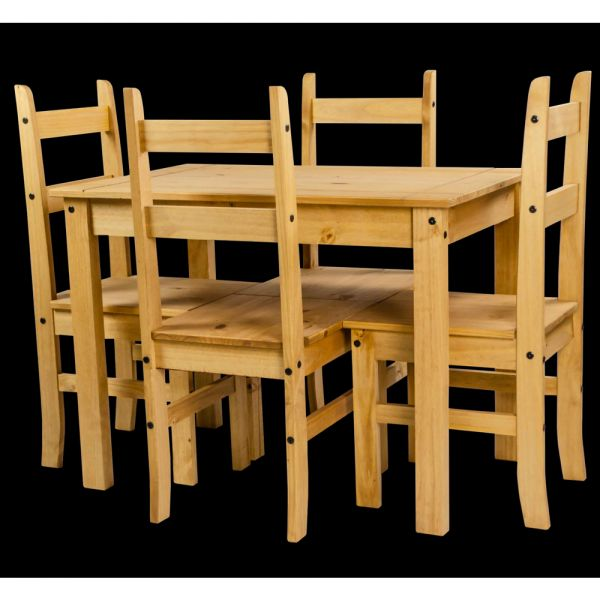 Corona Solid Pine Dining Table With 4 Chairs - Mexican Style