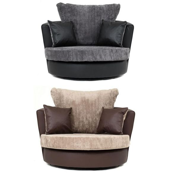 Dylan Chenille Fabric Swivel Chair - Black Grey or Brown Beige