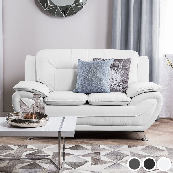 Lira Faux Leather Sofa with 2 Seater - Grey, White or Black
