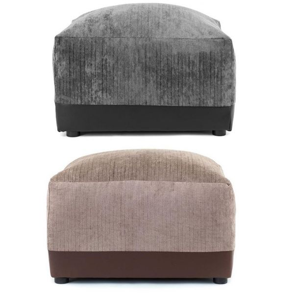 Dylan Chenille Fabric Footstool - Black Grey or Brown Beige