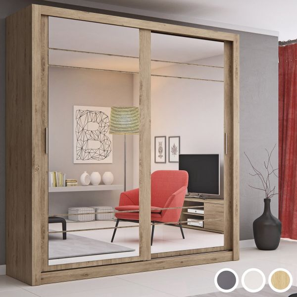 Artisan VIII 2-Door Sliding Wardrobe 203cm - White, Grey or Oak