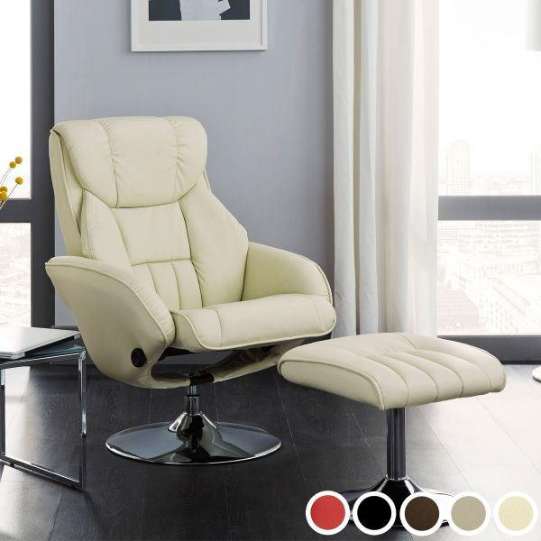 Larvik Luxury Faux Leather Recliner Chair & Footstool - Black, Brown, Cream, Red or Taupe
