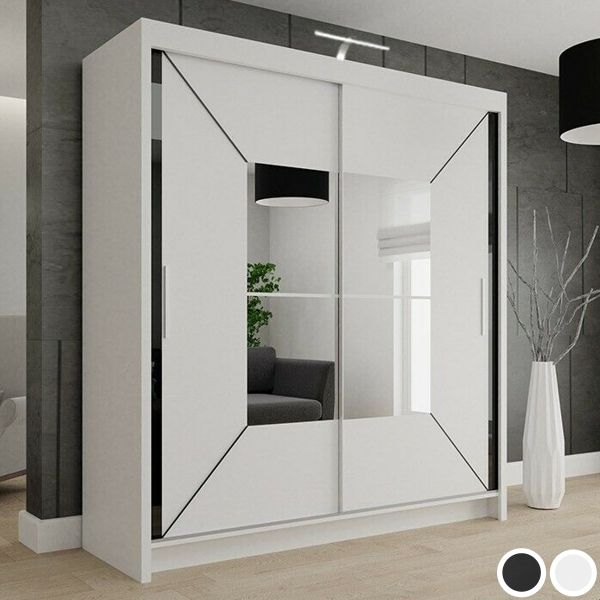 Nicole 2-Door Mirrored Sliding Wardrobe - Black or White