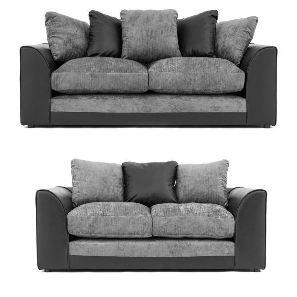 Dylan Chenille Fabric 3 and 2 Seat Sofa Set - Black Grey or Brown Beige