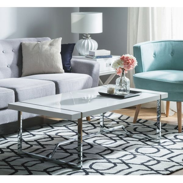 Tully White Gloss & Chrome Coffee Table