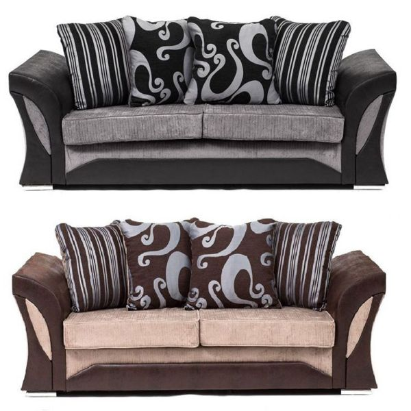 Sparrow Chenille Fabric 3 Seater Sofa - Black & Grey / Brown & Beige