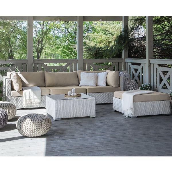 Sana Rattan Garden Corner Sofa Set - White or Black
