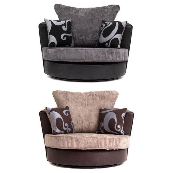Sparrow Chenille Fabric Swivel Chair - Black & Grey / Brown & Beige