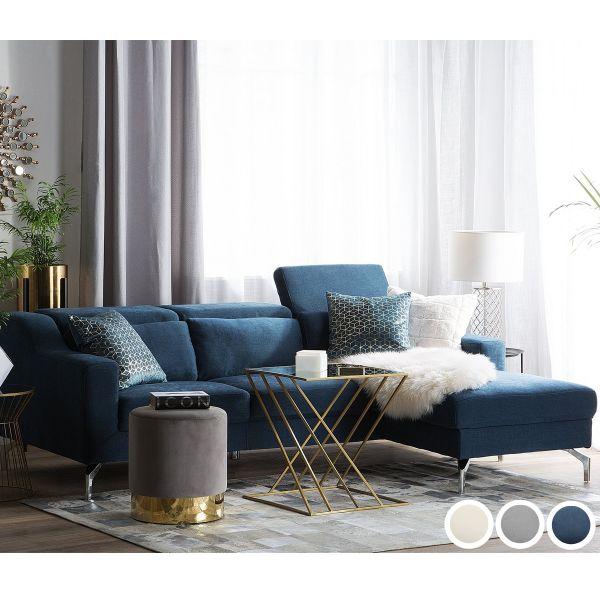 Glory Fabric Corner Sofa - Blue, Grey or Beige