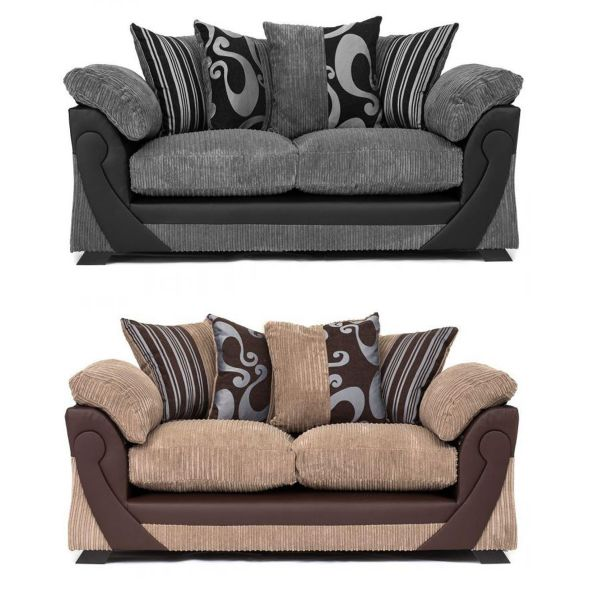 Illusion Cord Chenille & Faux Leather 3-Seat Sofa