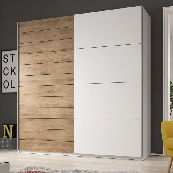 Galaxy Oak & White 2-Door Sliding Wardrobe - 3 Sizes