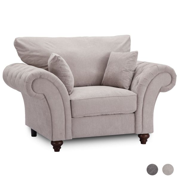 Windsor High Back 1 Seater Fabric Sofa Armchair - Dark Grey or Stone