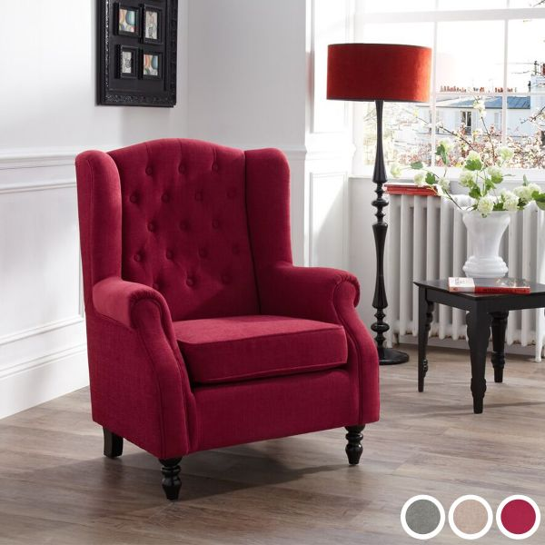 Perth Elegant Fabric Occasional Armchair - Red, Grey or Mink