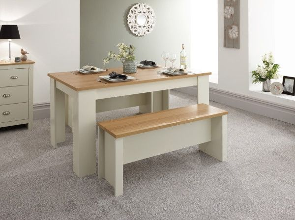 Lancaster Oak Dining Table & Bench Set - Grey or White