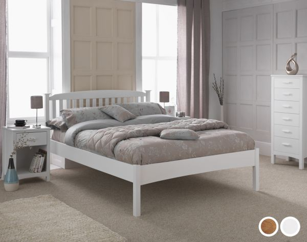 Eleanor Low Footend Wood Bed - 5 Sizes - Oak or White