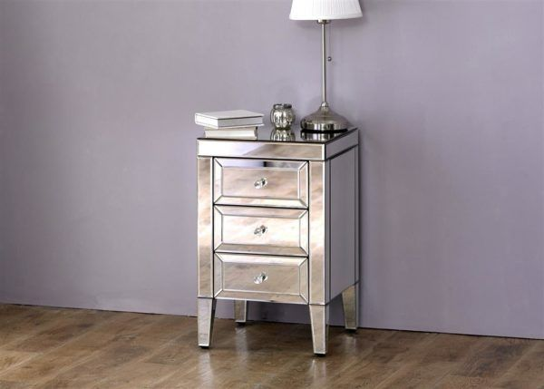 Birlea Valencia Mirrored 3-Drawer Bedside Table