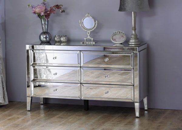 Birlea Valencia Mirrored 6-Drawer Wide Storage Chest