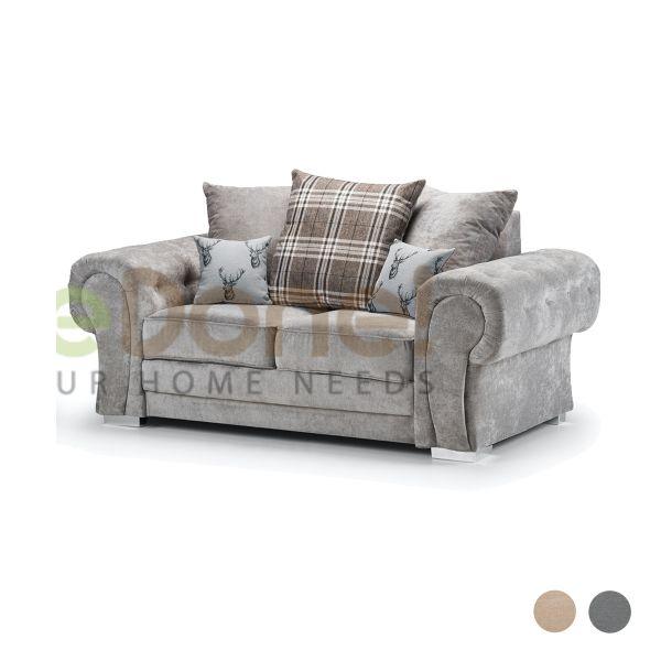 Varinda Fabric 2 Seater Sofa - Grey/Beige