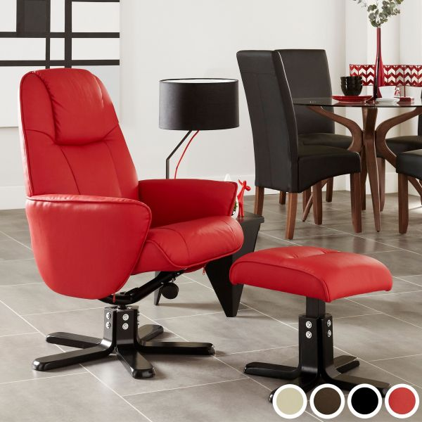 Bergen Faux Leather Recliner Chair & Footstool - Black, Brown, Mushroom or Red