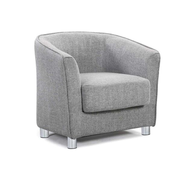 Vegas Modern Fabric Tub Chair - Light Grey or Charcoal