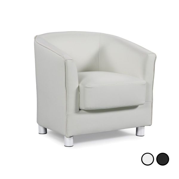 Vegas Modern Faux Leather Tub Chair - Black or White