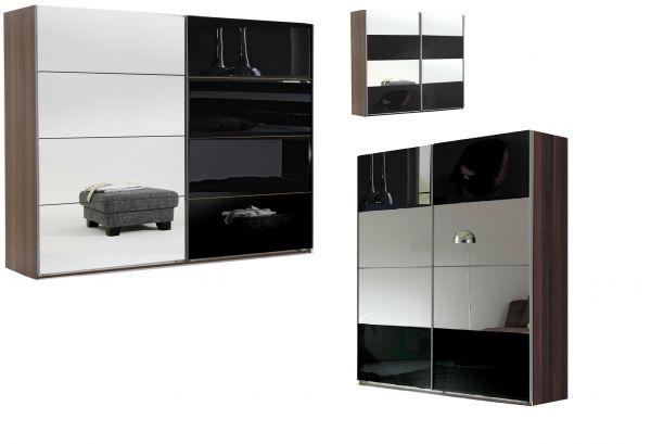 Venice 2-Door Mirrored Sliding Wardrobe - Walnut & Black