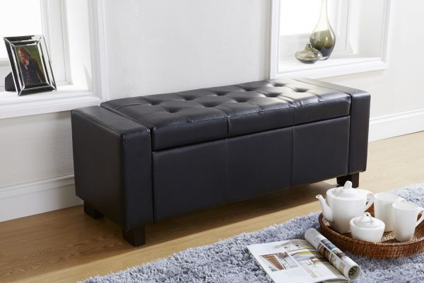 Verona PU Leather Ottoman Storage Bench - Black, Brown or White