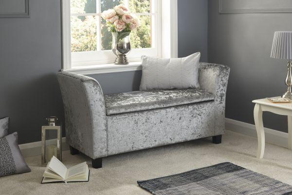 Verona Crushed Velvet Window Storage Bench - Grey, Oyster or Grey Fabric