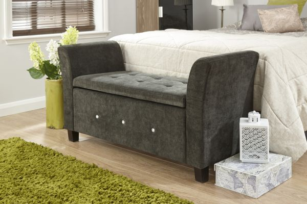 Verona Diamante Chenille Window Storage Bench - Black, Grey, Natural or Silver