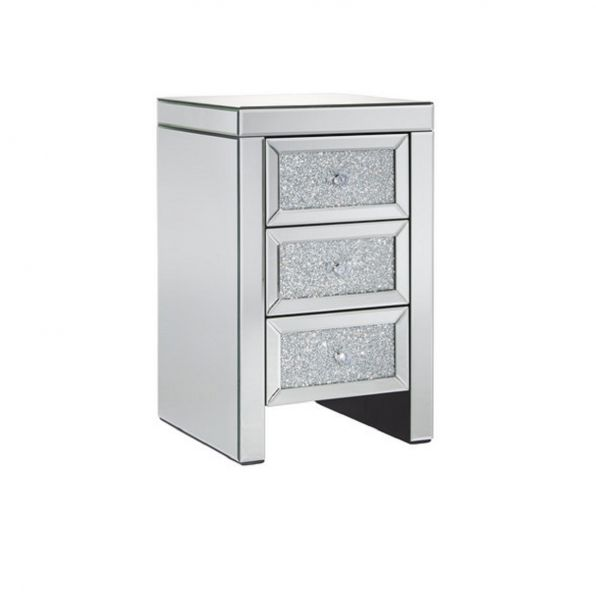 Vienna 3-Drawer Crystal Bedside Table
