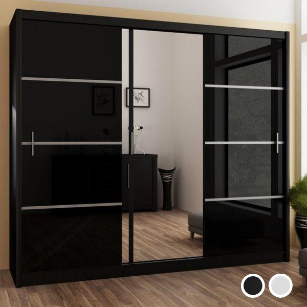 Vista High Gloss Large Mirrored Sliding Door Wardrobe - Black and White