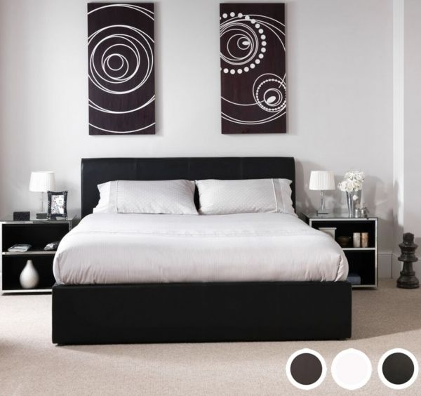 Tuscany Faux Leather Ottoman Bed - 5 Sizes - Black, Brown or White