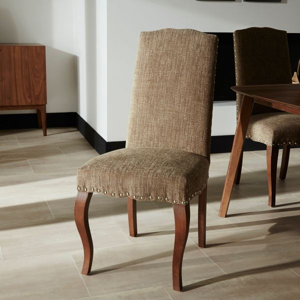 Kensington Fabric Dining Chairs Pair x 2 - Bark or Pearl
