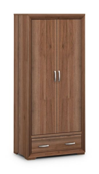Julian Bowen Buckingham Walnut 2-Door 1-Drawer Wardrobe