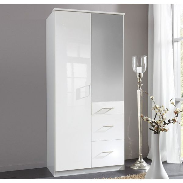 Clack 2-Door 3-Drawer Mirrored Gloss Wardrobe - White