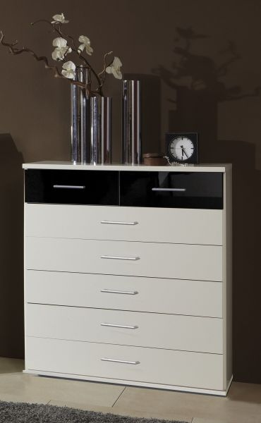 Gamma 5+2 Drawer Storage Chest - White and Black Gloss