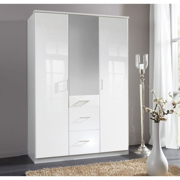 Clack 3-Door 3-Drawer Mirrored Gloss Wardrobe - White