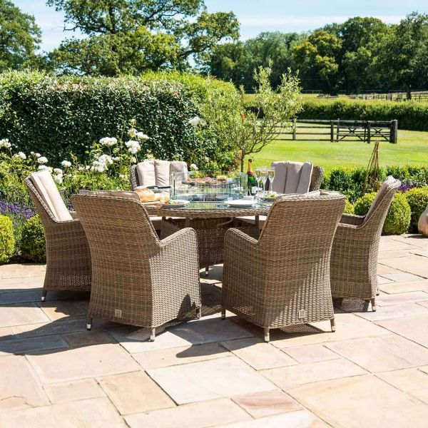 Winchester Venice 6 Seater Garden Rattan Dining Furniture Set