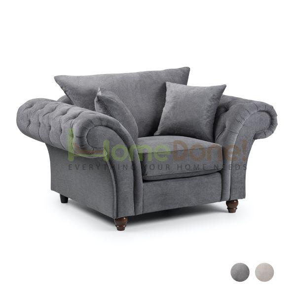 Windor Fabric Armchair - Grey