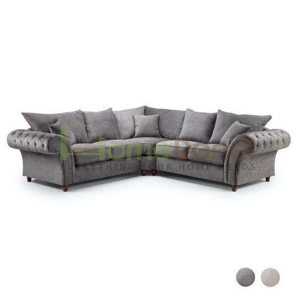 Windor Scatterback Fabric Large Corner Sofa - Charcoal Grey