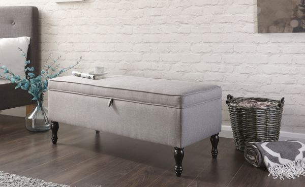 Windsor Ottoman Storage Bench - Grey Hopsack or Silver Chenille