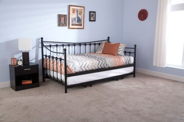 Memphis Metal Day Bed Frame & Trundle - Black or Ivory