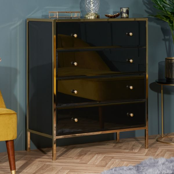 Birlea Fenwick 4-Drawer Chest - Black & Gold