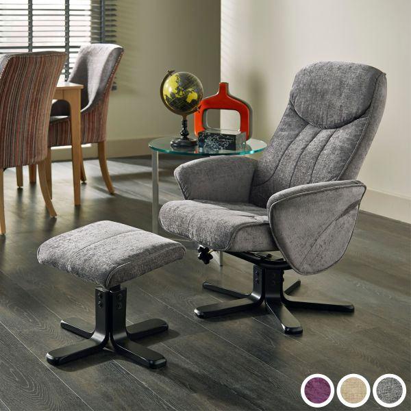 Stavern Fabric Massage Recliner Chair & Footstool - Amethyst, Mink or Steel