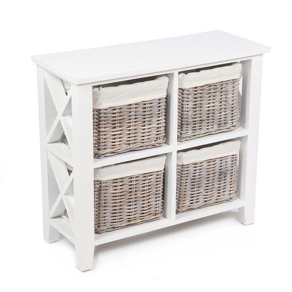 Avira 4 Basket Square X Cabinet - Matt White