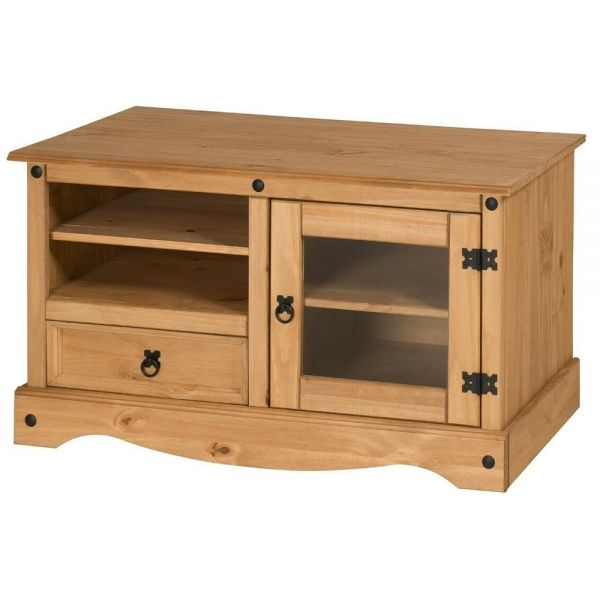 Corona Solid Pine TV Stand Cabinet With Glass Door