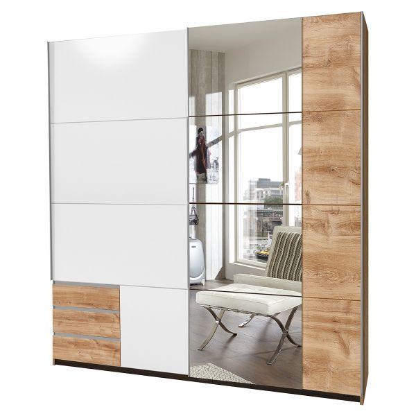 Enber Mirrored Sliding Wardrobe - Planked Oak And White