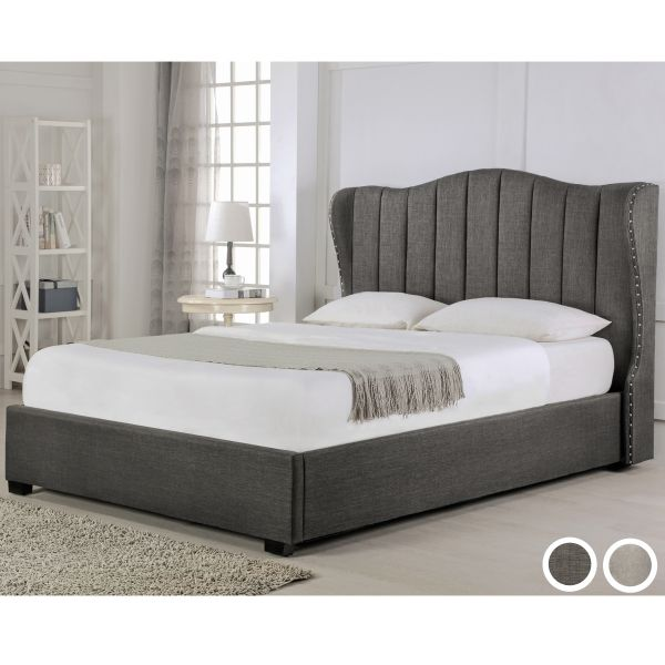 Sherwood Fabric Sleigh Ottoman Bed - Grey or Stone