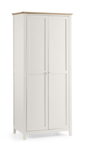 Julian Bowen Salerno Ivory & Oak 2-Door Wardrobe