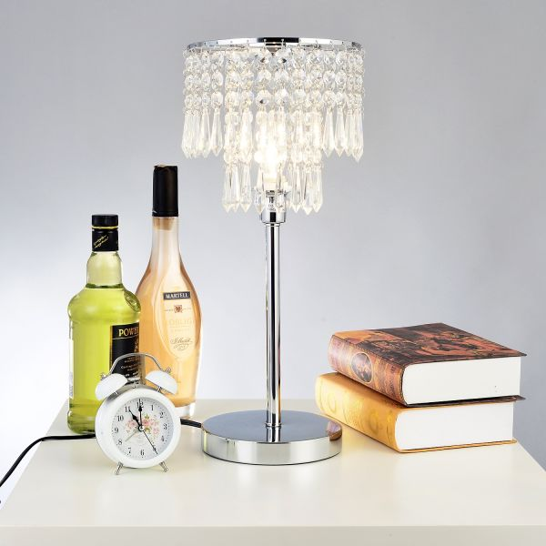 Homcom Chrome Crystal Desk Table Lamp